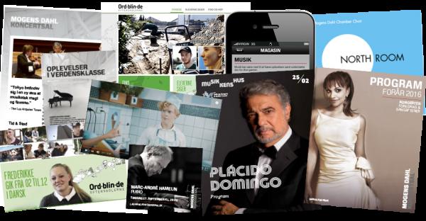 Eksempler på Tonesprogs arbejde: Nyhedsbrev, hjemmeside, cd-produktion, app-teks